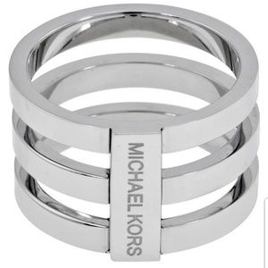 New Michael Kors Silver Tone Tri Stacked Ring Sz 7